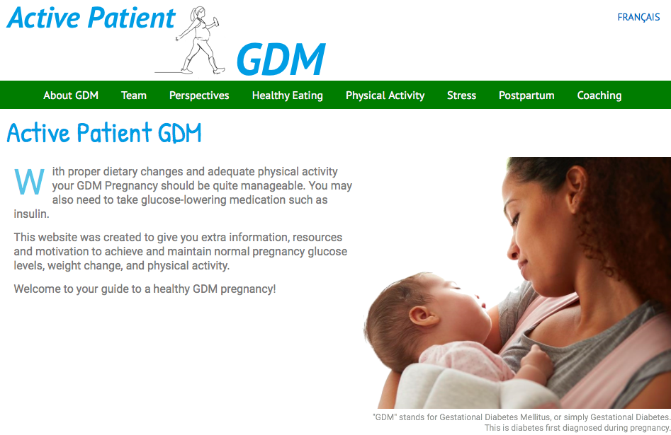Screen capture of Active Patient GDM Home Page