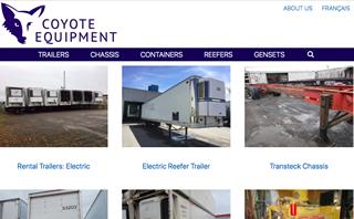 Website of Coyote Equipment, Les Côteaux, QC