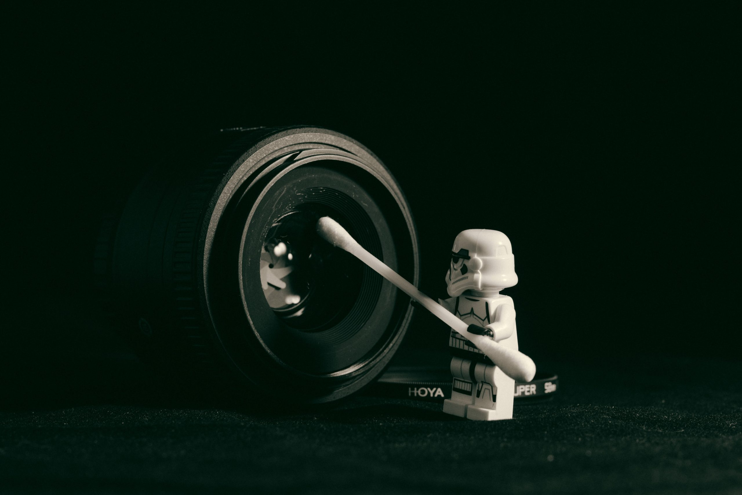 Lego Drone cleaning a camera lens