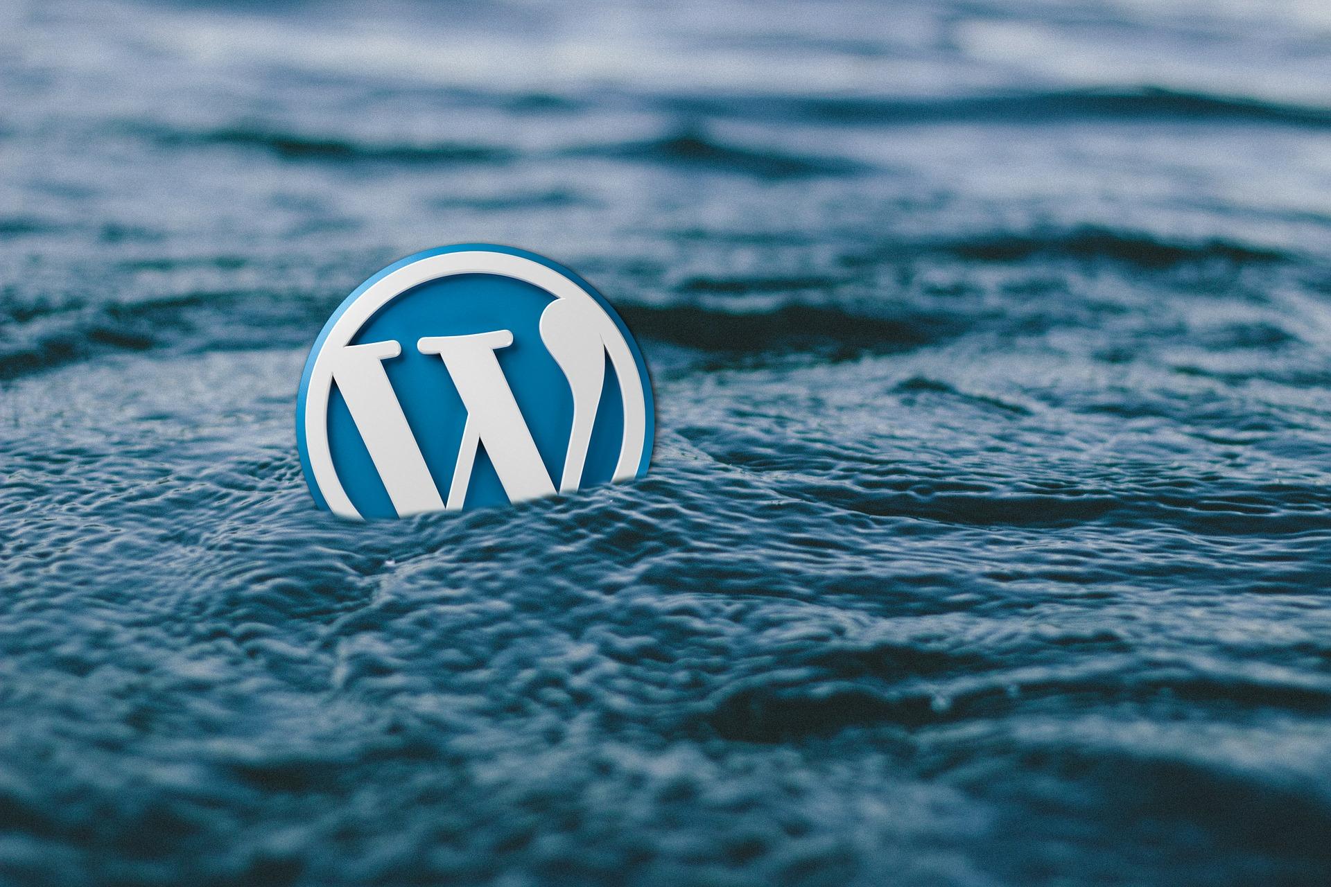 Wordpress logo floating in blue water.